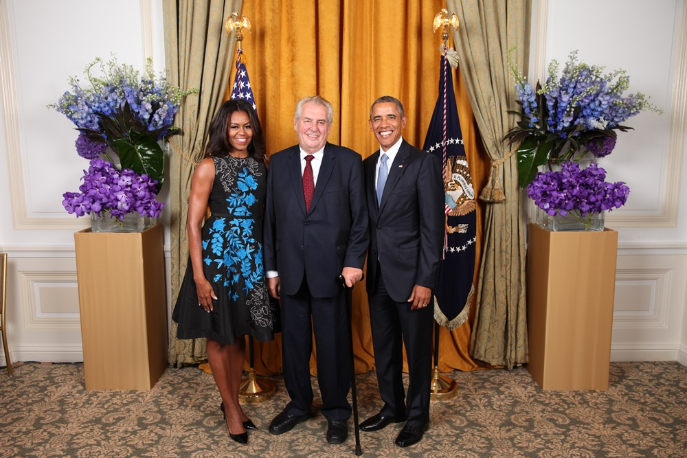 President Barack Obama and First Lady Michelle Obama greet The Honorable Miloš Zeman, The President of the Czech Republic, during the United Nations General Assembly reception at the New York Palace in New York, N.Y., Sept. 28, 2015. (Official White House Photo by Lawrence Jackson)